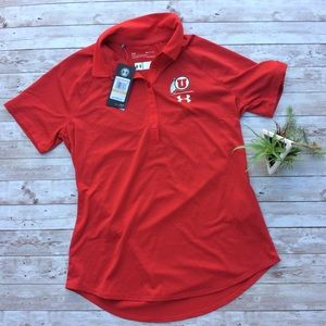 *New Under Armour Heatgear Utah Utes Red Polo